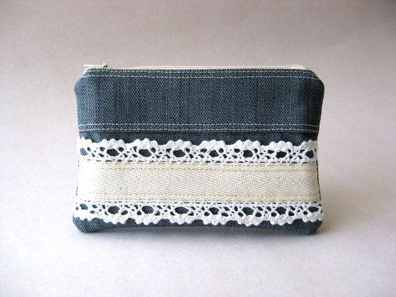 denim + lace coin purse