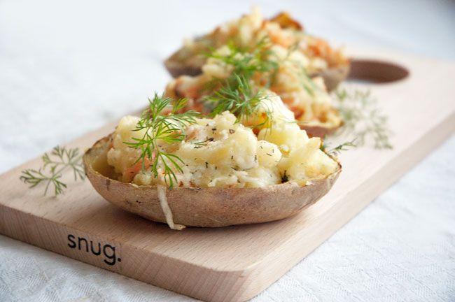 fyldte kartofler med laks