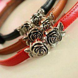 $3.88 Graceful Retro Style Candy Color Rose Buckle Embellished Belt