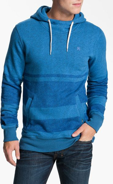 striped hoodies for men | Hurley Retreat Stripe Hoodie in Blue for Men (heather blue) - Lyst