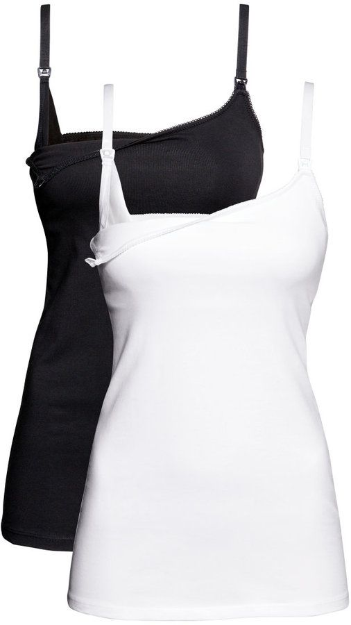 H&M - MAMA 2-pack Nursing Tank Tops - White/black - Ladies