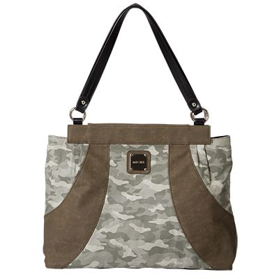 Gabby  Camouflage print canvas in shades of olive green offset by faded olive faux leather  Available from www.mycdsite.com.au/amandar