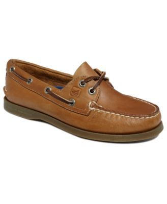 You can't go wrong with an original. The A/O boat shoes by Sperry Top-Sider feature tru-moc construction and classic style. | Imported | Leather upper | Round-toe slip-on moc boat shoes | Two-eyelet l