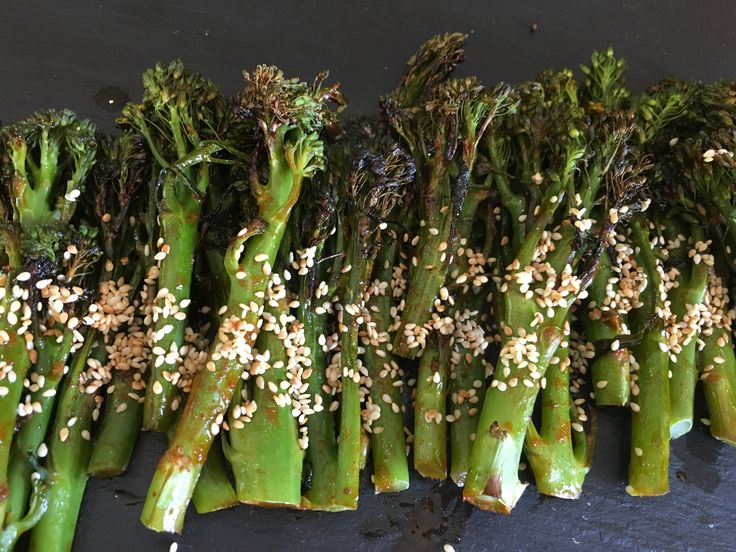 Lovely, easy recipe for tender stem broccoli that it coated in a sweet, sticky, salty, spicy Korean sauce and roasted.