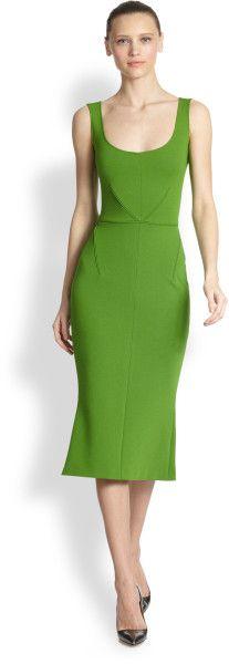Zac Posen Sleeveless Flared Midi Dress in Green (GRASS)