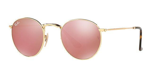 Ray-Ban RB3447N 001/Z2 50-21 ROUND FLAT LENSES Gold sunglasses   Official Online Store US