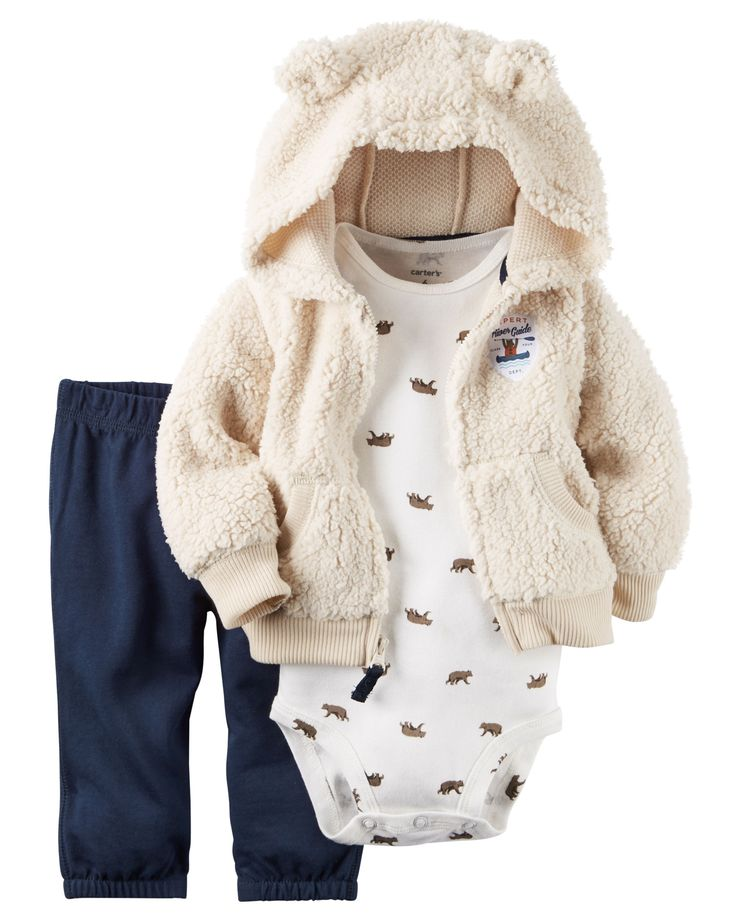 Crafted in plush snow fleece with a cozy animal ear hood, this cardigan set is complete with a soft cotton short sleeve bodysuit and French terry pants.