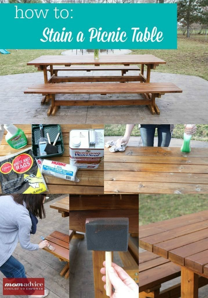 How to Stain a Picnic Table from MomAdvice.com. I love these tips for a fresh table!