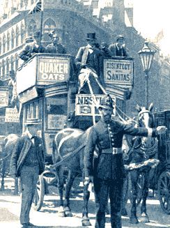 A 19th Century street scene - London - the horse-drawn omnibus was an early form of public transport