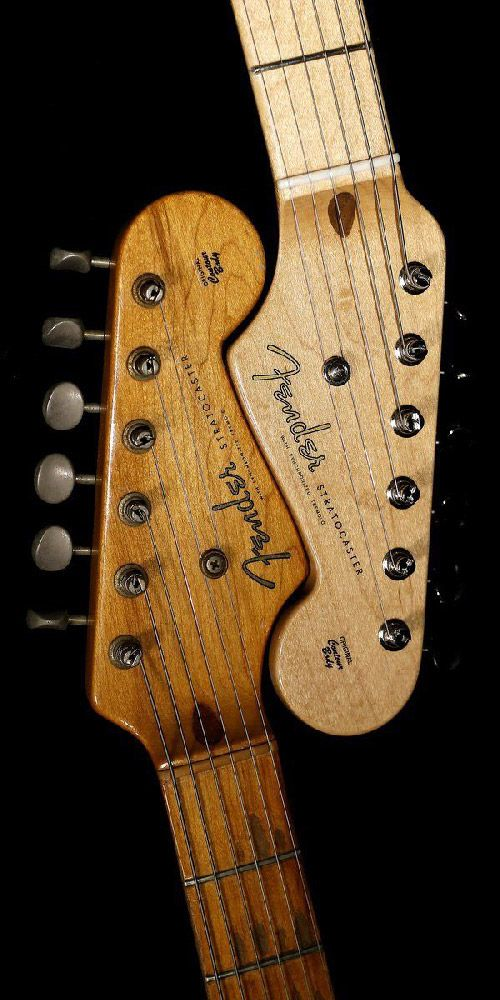 Stratocaster headstocks... two of a kind. #BeautifulFender
