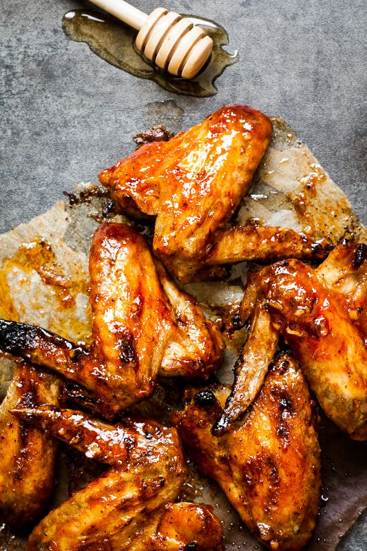 Honey Sriracha Chicken WIngs {by Thyme to Eat}