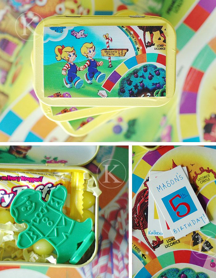 I'm still in birthday mode and finding all sorts of goodies! I promise I'll be over the party bug soon:-)I love this adorable Candy Land party invite by Katherine Marie Photography. What a great way to recycle an Altoid Tin! When I asked Katherine if I could feature her invitations, she told me she had just had the party! I was in awe when I saw her photos!!This party is so