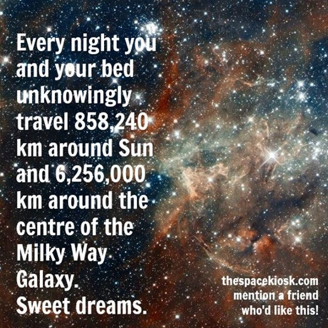 Every night you and your bed unknowingly travel 858,240 km around the Sun and 6,256,000 km around the center of the Milky Way.  Sweet dreams.