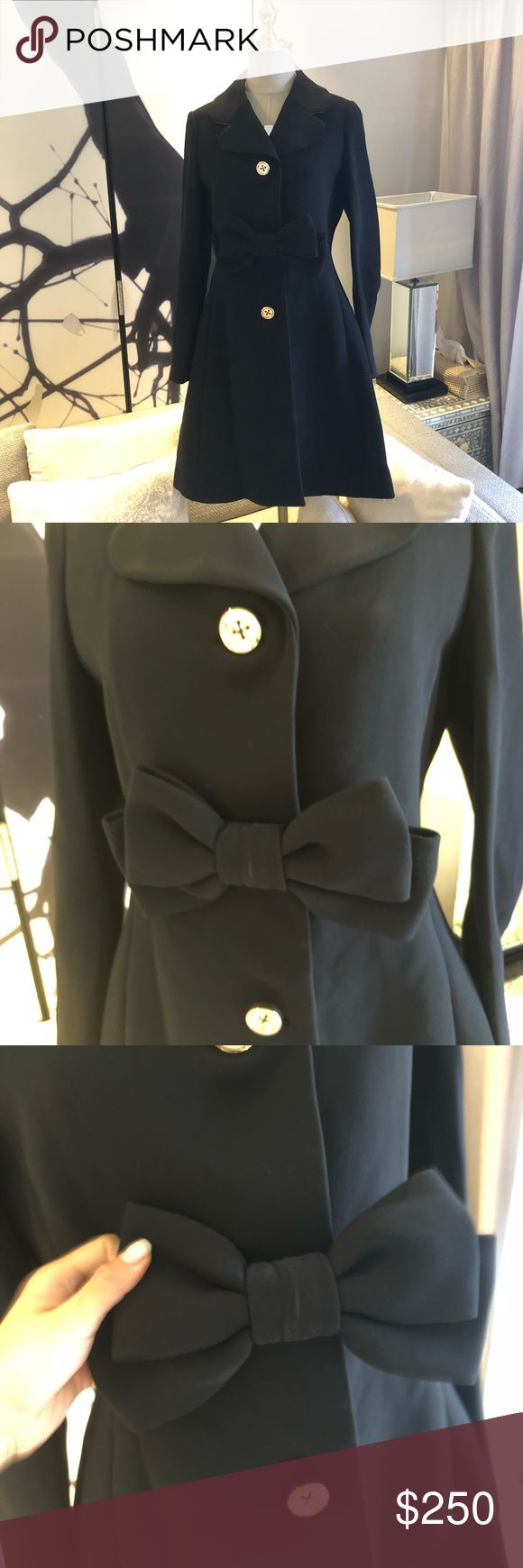 Kate Spade Madison Avenue Black trench coat With a really cute bow. Brand new condition, store sample so the label has to be marked. Size US4. kate spade Jackets & Coats Trench Coats