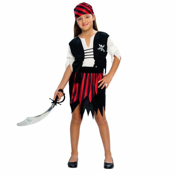 Un clásico donde los haya, el disfraz de pirata para niña de toda la vida ahora al mejor precio posible. Ya no hay excusas, un modelo realmente completo para disfrazar a niñas de 4-6 años aproximadamente. #disfraces #carnaval