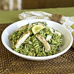 Whole Grain Pasta Salad with Lemon-Basil Pesto. Sounds delicious, without chicken of course