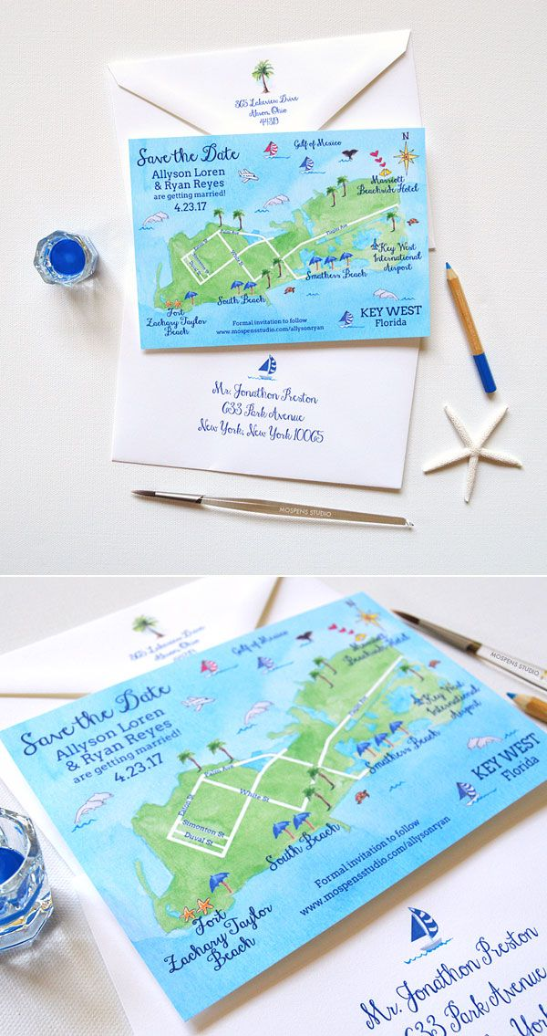 So much fun! A map save the date is perfect for destination weddings. 100% Original Art. Key West Florida map save the date cards now available! - www.mospensstudio.com