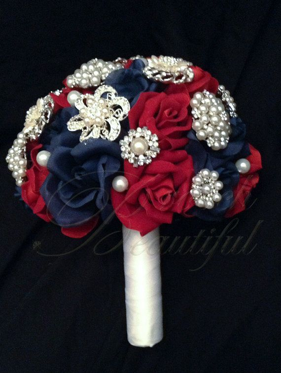 Patriotic Red White and Blue Velvet Rose and Pearl Brooch Bouquet just in time for Summer, 4th of July or Military Wedding #BroochBeautiful on Etsy, $225