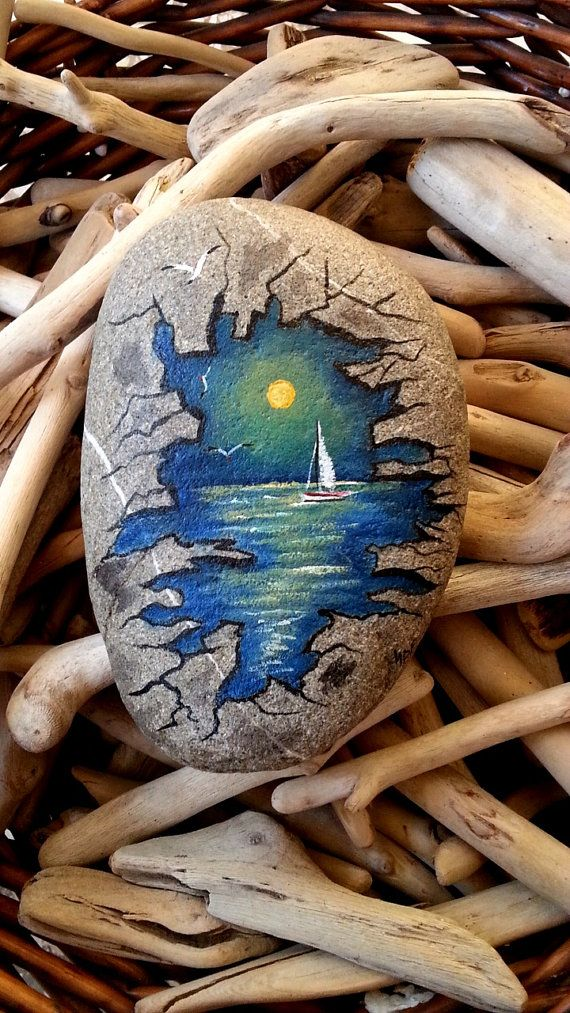 Hand painted stone sea painting seascape painted rock by AxiKedi                                                                                                                                                                                 More