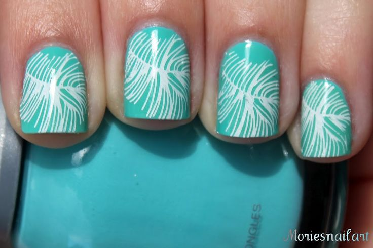 Essie Turquoise and Caicos + feather stamping