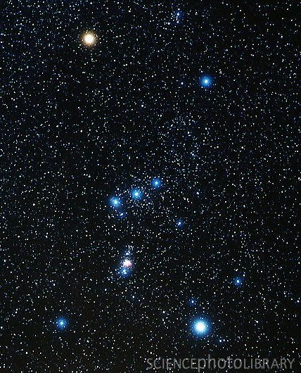 The constellation Orion. Betelgeuse is the orange star in the top left of this picture, it is 800 times the size of our own star.