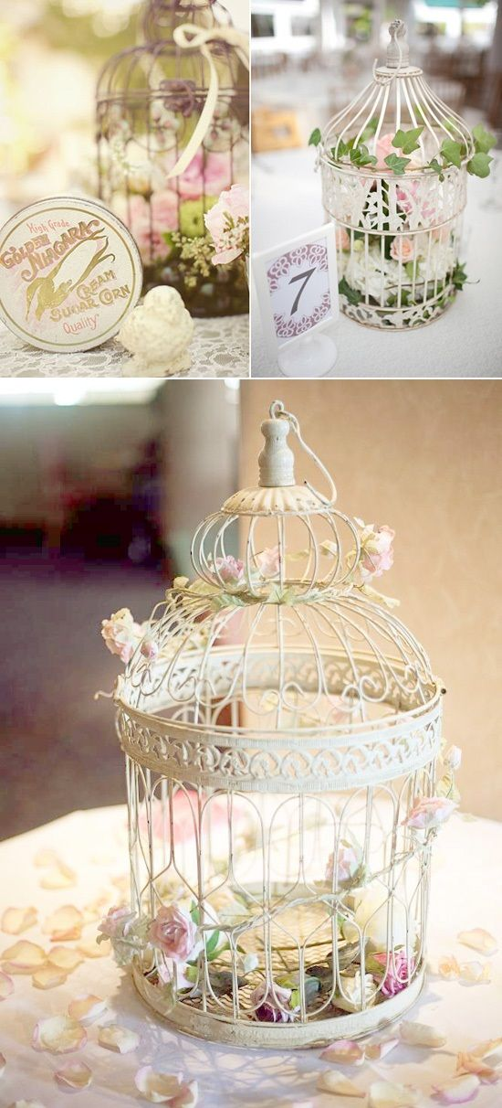 Lavender and Ash: Using Bird Cages in Wedding Decor- Totally goes with the shabby chic and vintage theme of our wedding!