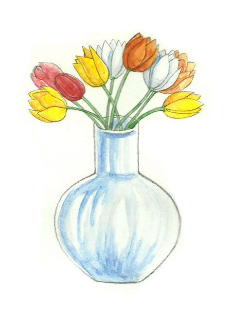 How To Draw Flowers In A Vase Via Drawing