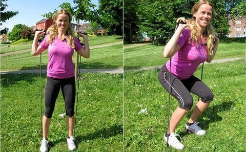 KNEBØY: Med denne øvelsen får du trent sete og forsiden av lårene.