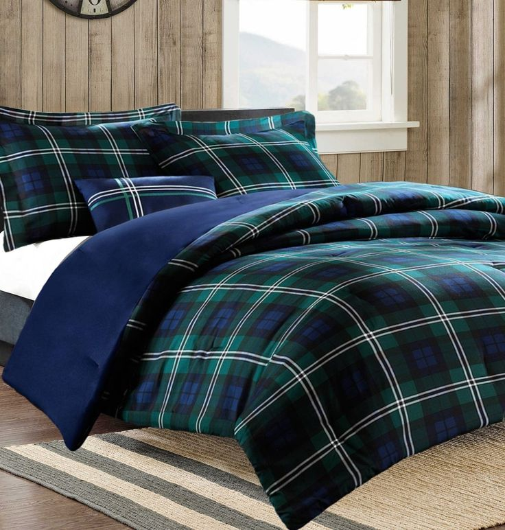 Teen Boys Bedding Sets Blue Green Plaid Bedding Comforter Set with Switchback Outdoor Gear Emergency Pocket Flashlight (Twin/Twin XL) //Price: $100.45 & FREE Shipping //     #hashtag4