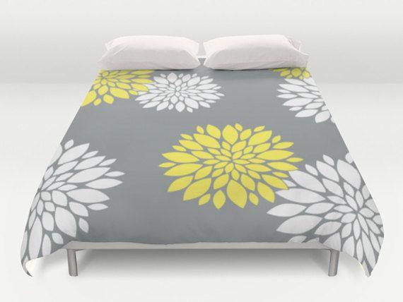 Grey Yellow Duvet Flower Duvet Cover Modern Bed by DesignMargarida
