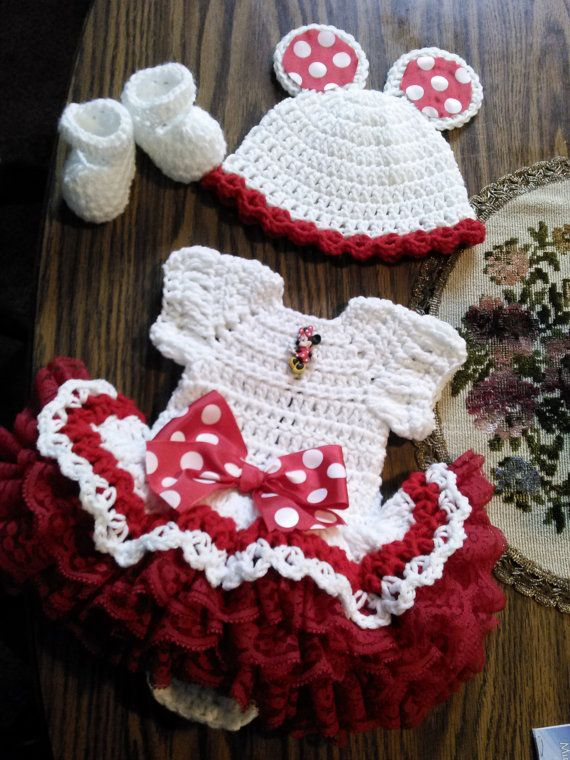 Minnie mouse crochet onsie dress set with ruffles