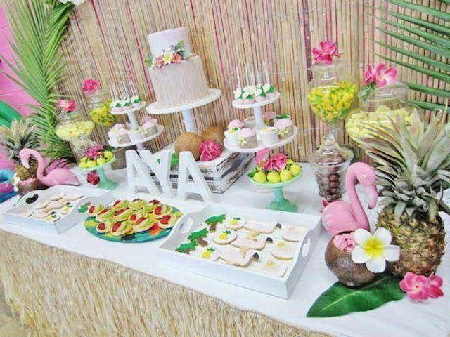 elegant pool party baby shower | pintada decoración hawaiana: ideas para bautizo de niña
