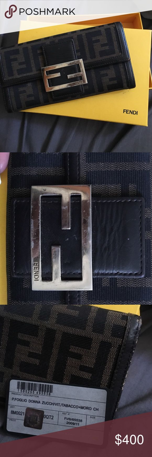 FENDI FULL SIZE Wallet Style name: P.FOGLIO DONNA ZUCCH. Scratches on the metal detail, corner/leather trim wear, has lots of space! 4 card slots that can hold about 2-3 cards each. No damage to the FF fabric. Comes with box, wallet, authenticity card, and dustbag. Got it as a gift a few years ago and just stored in box and would love for it to go to someone who will use it! For more pics, please let me know, I can email more! $105 free ship on Ⓜ️ taking offers if you want to drop me one…