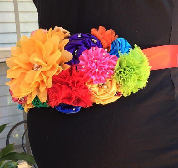 Arco iris Faja de maternidad embarazo flor multicolor bebé