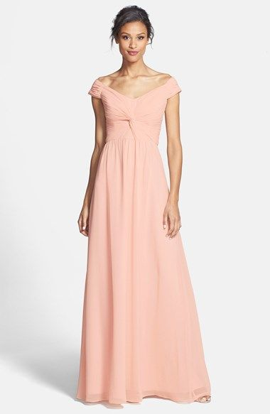 ERIN erin fetherston 'Clarisse' Off-Shoulder Front Twist Chiffon Gown available at #Nordstrom