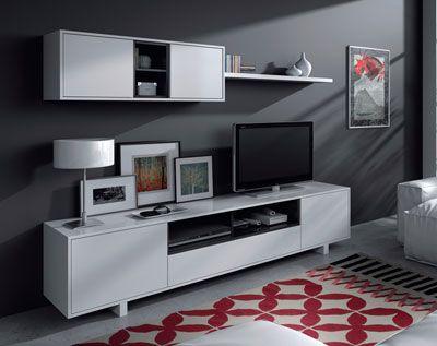 Mueble de salón blanco de 2 metros
