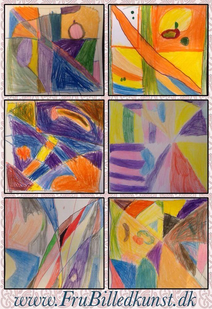 Tegnekurset i 1.klasse fortsætter. Her er det øvelsen med et abstrakt mønster.Vi bruger Super Lyra Ferby farveblyanter (+ børnenes egne), og jeg understreger igen og igen, at der skal blandes farver og males tæt og hårdt, så farverne kommer til at stråle. Det er lidt hårdt for de små pus, at der pludselig bliver sat krav til deres tegninger, men jeg ved jo, at det lønner sig sidenhen. A6 str. er bedst.