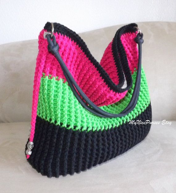 Crochet over sized shoulder bag beaded bag crochet by MyNicePurses, $75.00
