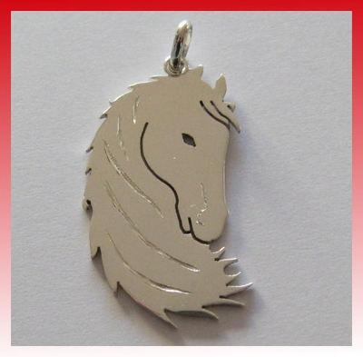 Ciondolo Cavallo equitazione Arg.925 Gratis incisione Silbernes Pferd Anhänger