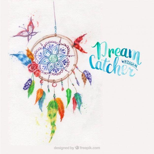 Dreamcatcher окрашены акварельными красками Бесплатные векторы