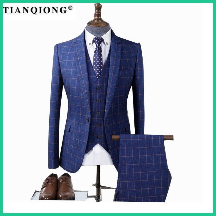 TIAN QIONG Men Blue Plaid Tailor-made Suits for Wedding Business Tuxedo Suit Costume Homme Slim Burgundy Groom Suit Men 3 Piece