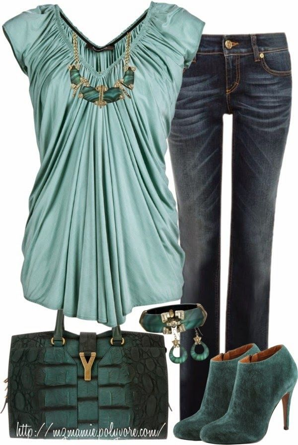 I like this top and may be able to pull it off over the belly area. I like the style of jean just not the bleaching. Shoes & purse are the wrong color of green (Not a fan of dark or Kelly green.)