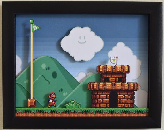 Super Mario All Stars SNES The Castle 3D by VideoGameShadowBox