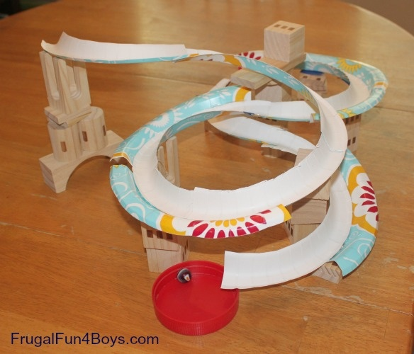 Cool DIY marble track. Your child might forget about time.