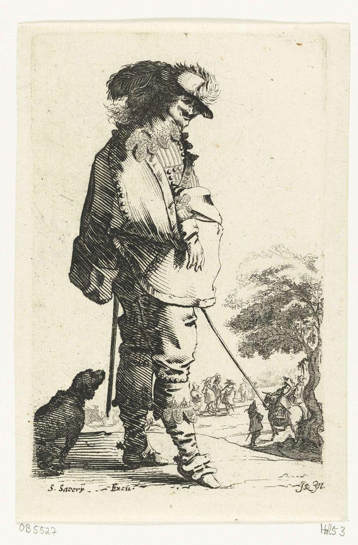 Salomon Savery | Staande cavalier met stok, achter hem een hond, Salomon Savery, 1633 - 1665 | De prent maakt deel uit van een tiendelige serie prenten met voorstellingen van cavaliers en welgestelde vrouwen, gekleed volgens de Nederlandse mode ca. 1625-1630.