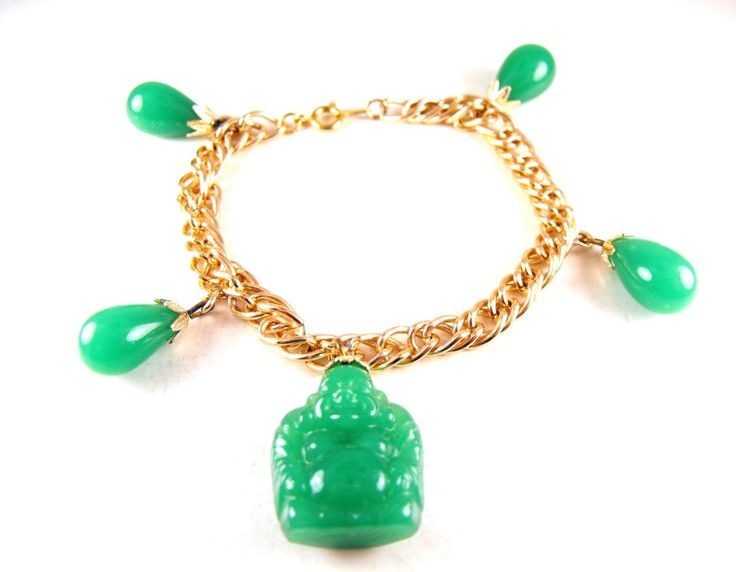 Laughing Buddha Bracelet Molded Glass Jade Green Color Gold Tone Charm Cute As A Button by hipcricket on Etsy