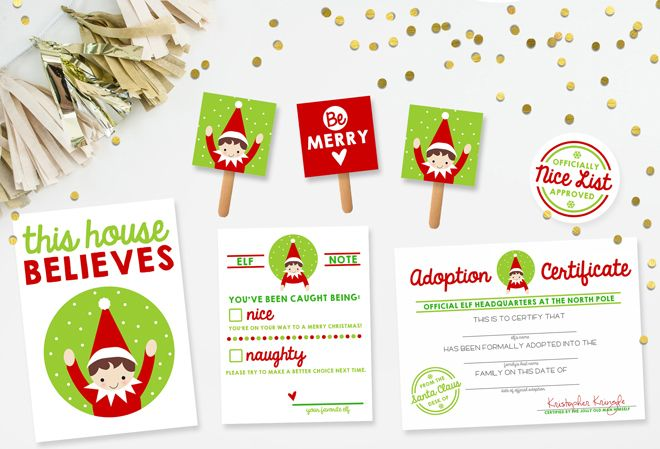Download your free Elf on the Shelf printable kit that includes an adoption certificate, banner, notes, etc!