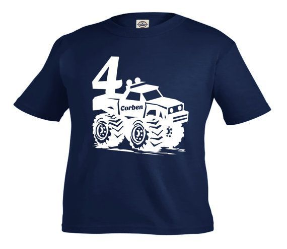 Monster Truck Birthday Shirt Personalized Birthday Shirt Any Age And Name Pick Your Colors Birthday Shir Monster Trucks Truck Shirts Monster Truck Birthday