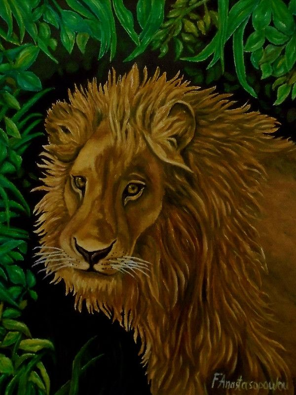 Canvas print, painting, art, lion, portrait, african, animal, wildlife, big cat, jungle, safari, savanna, wall art, wall decor, decorative items, green, brown, colorful, realism, redbubble
