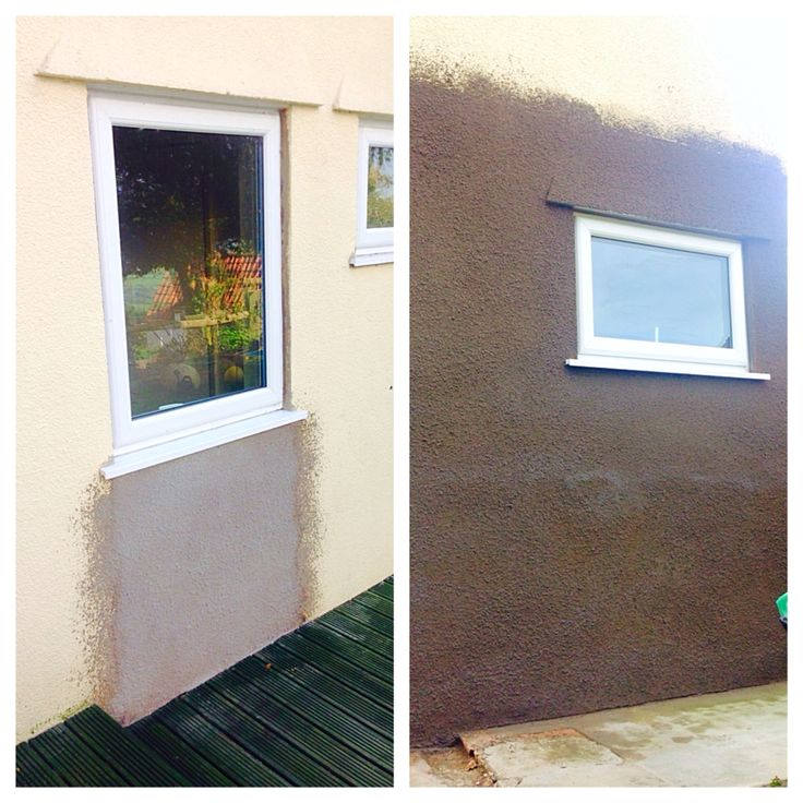 Render repair - old doorway and porch area bricked up and re-rendered with a tyrolean finish.
